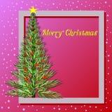 Süße rosa Farbweihnachtskarte lizenzfreie abbildung