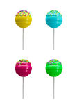 Süße Süßigkeit des bunten Lutschers lokalisiert auf weißer Wiedergabe 3d Stockbild