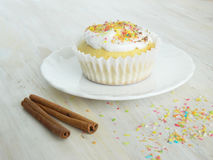 Süße selbst gemachte kleine Kuchen mit Kokosnussschnitzeln Stockbilder
