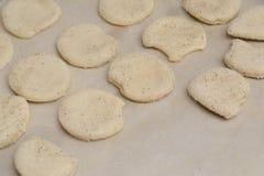 Süße selbst gemachte Plätzchen auf einem Backblech lizenzfreie stockfotos