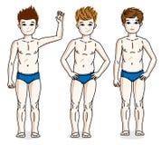 Süße Stellung des jungen jugendlich der kleinen Jungen in der blauen Unterwäsche Vektor Lizenzfreies Stockfoto