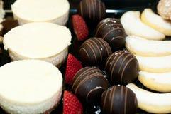 Süße Tabelle, Käsekuchen, Tiramisu, Apfel crostada, Schokolade zuccotto Bisse, Vera-Zitronenplätzchen Lizenzfreies Stockfoto