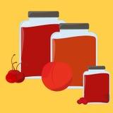 Süße und gesunde selbst gemachte Erdbeermarmeladen-Papier-Kennsatzfamilie Lizenzfreies Stockfoto