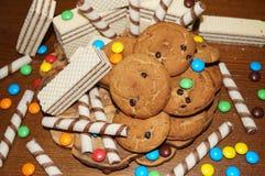 Süße Waffeln, Kekse, Süßigkeiten Stockbild