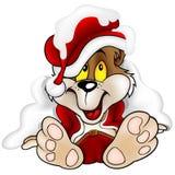 Süßer Bär als Weihnachtsmann Stockbild