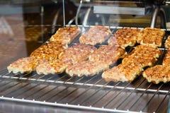 Süßer belgischer Nachtisch im Shop stockfoto