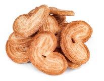 Süßer Blätterteig der Herzform Bäckereiprodukte getrennt auf Weiß Lizenzfreie Stockbilder