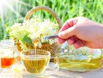 Süßer elderflower Tee mit Honig lizenzfreie stockfotos
