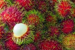Süßer frischer roter Rambutan Stockbild