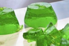 Süßer grüner Geleenachtisch Stockfotos