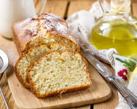 Süßer Hüttenkäse Ricottakuchen mit Olivenöl Stockbild