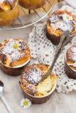 Süßer Hüttenkäseauflauf mit Rosinen zum Nachtisch Stockbild