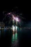 Süßer Hafen-21. Geburtstag-Feuerwerke Stockbild