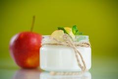 Süßer Hauptjoghurt mit Äpfeln Stockfotos