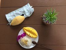 Süßer klebriger Reis mit Mangofrucht Lizenzfreies Stockfoto