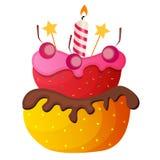 Süßer Kuchen mit Berry Menu Background Vector Illustration Stockfotos