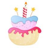 Süßer Kuchen mit Berry Menu Background Vector Illustration Stockfotografie