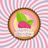 Süßer Kuchen mit Berry Menu Background Vector Illustration Stockfoto