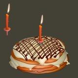 Süßer Kuchen mit Buttercreme und brennender Kerze lizenzfreie abbildung