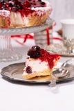 Süßer Kuchen mit Kirschgelee, geschmackvoll und frisch Antike Teller lizenzfreies stockfoto