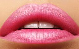 Süßer Kuss Perfektes natürliches rosa Lippenmake-up Schließen Sie herauf Makrofoto mit schönem weiblichem Mund Pralle volle Lippe lizenzfreie stockfotografie