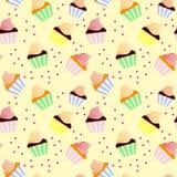 Süßer nahtloser Hintergrund mit kleinen Kuchen Stockbild