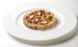 Süßer Reis mit Mandeln und Frucht Marmelade Stockfotografie