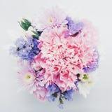 Süßer rosa Blumenstrauß auf weißem Hintergrund Stockbilder