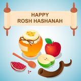 Süßer rosh hashanah Konzepthintergrund, isometrische Art vektor abbildung