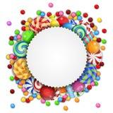 Süßer Süßigkeitshintergrund mit leerem Zeichen Stockfotos