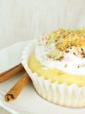 Süßer selbst gemachter kleiner Kuchen mit Kokosnussschnitzeln Lizenzfreie Stockfotografie