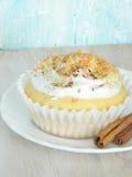 Süßer selbst gemachter kleiner Kuchen mit Kokosnussschnitzeln Lizenzfreies Stockbild