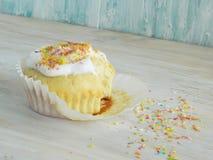 Süßer selbst gemachter kleiner Kuchen mit Kokosnussschnitzeln Stockbilder