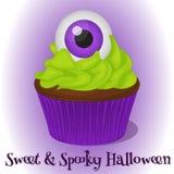 Süßer und gespenstischer kleiner Kuchen mit Augapfel für Halloween in der Karikaturart Auch im corel abgehobenen Betrag Feiertags Lizenzfreie Stockbilder