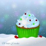 Süßer und köstlicher Weihnachtskleiner kuchen im Schnee Winter-gute Sachen Einfache Karikaturart Lizenzfreies Stockbild