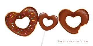 Süßer Valentinsgrußtag mit Schokoladenschaumgummiringen und -lutscher vektor abbildung