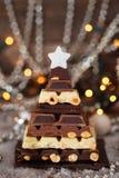 Süßer Weihnachtsbaum Schokoladen-Weihnachtsbaum stockfotos