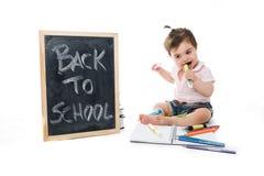 Süßes Baby gehen zurück zur Schule Stockbilder