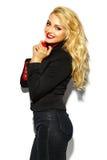süßes blondes Modell in der zufälligen Kleidung Stockbilder