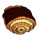 Süßes Brötchen mit Mohnblume und Schokolade Auch im corel abgehobenen Betrag Stockbilder