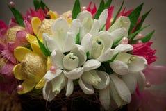 Süßes Design, Blumenstrauß der Süßigkeit, Frühling, Schneeglöckchen Lizenzfreie Stockbilder