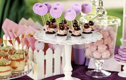 Süßes Feiertagsbuffet mit kleinen Kuchen und Tiramisu Lizenzfreies Stockbild