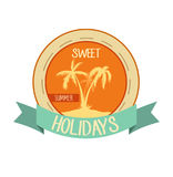 Süßes Feiertagslogo, Emblem Vektorillustration mit Palmen auf Insel sommerzeit stockbilder