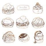 Süßes Gebäck - Windbeutel Vektorsatz Kuchen mit dem Frucht- und Beerenanfüllen, Creme und chocolat lizenzfreie abbildung