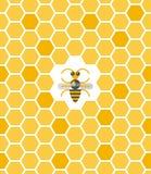 Süßes geometrisches Muster mit Bienenwabe und Biene Stockbild