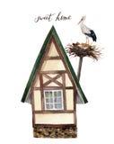 Süßes glückliches Haus des Aquarells mit Illustration des weißen Storchs und des Nestes vektor abbildung