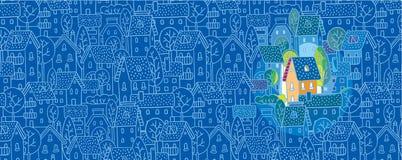 Süßes Haus. Grußkarte Stockbild