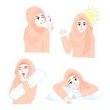 Süßes Hijab-Mädchen 5 Vektor Abbildung