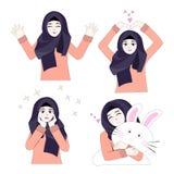 Süßes Hijab-Mädchen 10 Vektor Abbildung