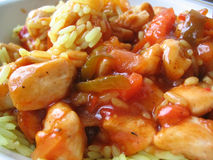 Süßes Huhn mit gelbem Reis #2 Stockfotografie